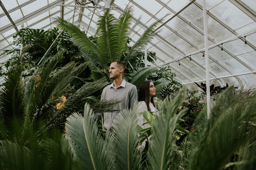 couple standing in volunteer park conservatory engagement