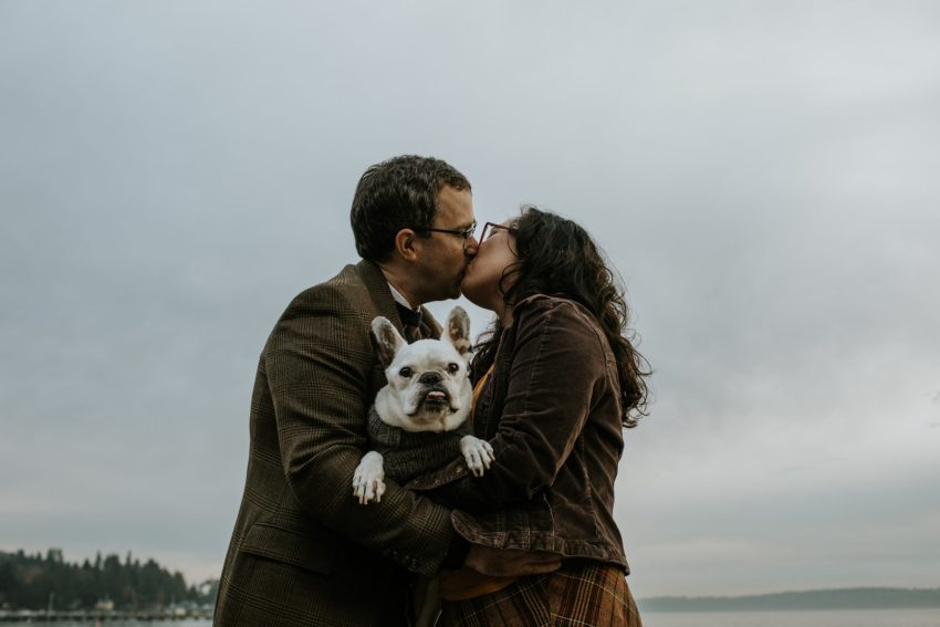 lincoln park engagement shoot with french bulldog