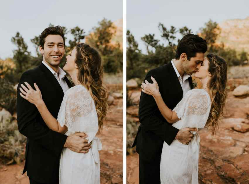 diptych bride and groom in sedona