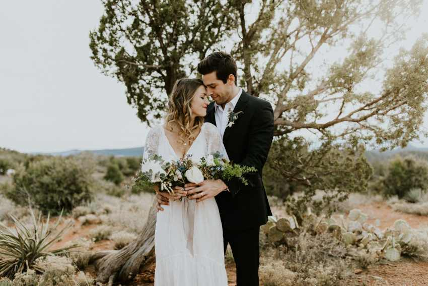 airy bride and groom sedona elopement