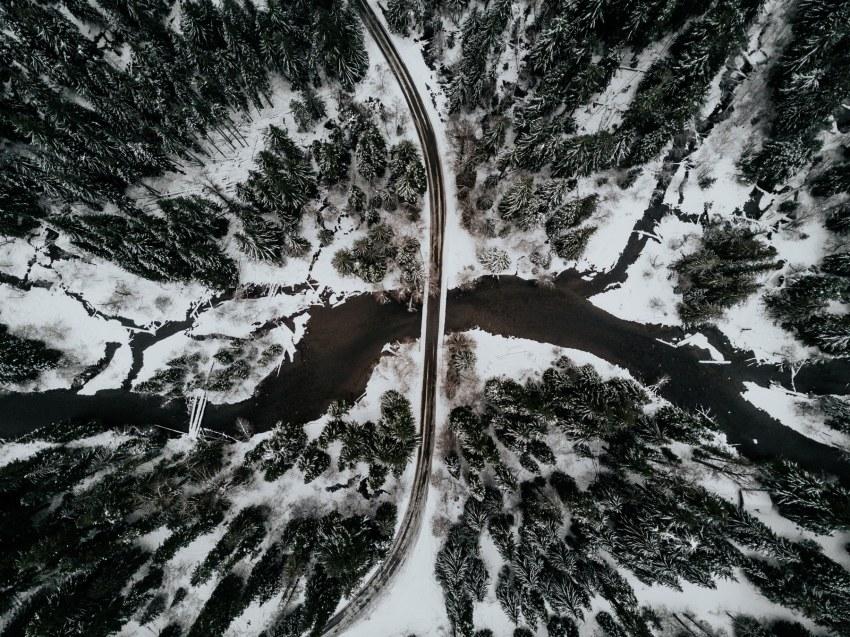 aerial drone mavic pro snoqualmie pass snow