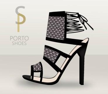 sandalia rombos black&white estampado geométrico