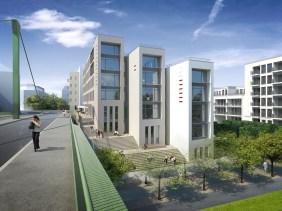 """DreiEins im Düsseldorfer """"Quartier Central""""   Quelle: INTERBODEN Innovative Lebenswelten & HOCHTIEF Projektentwicklung"""