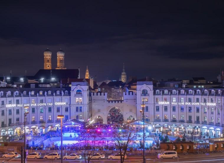 Munich Stachus Night Lights
