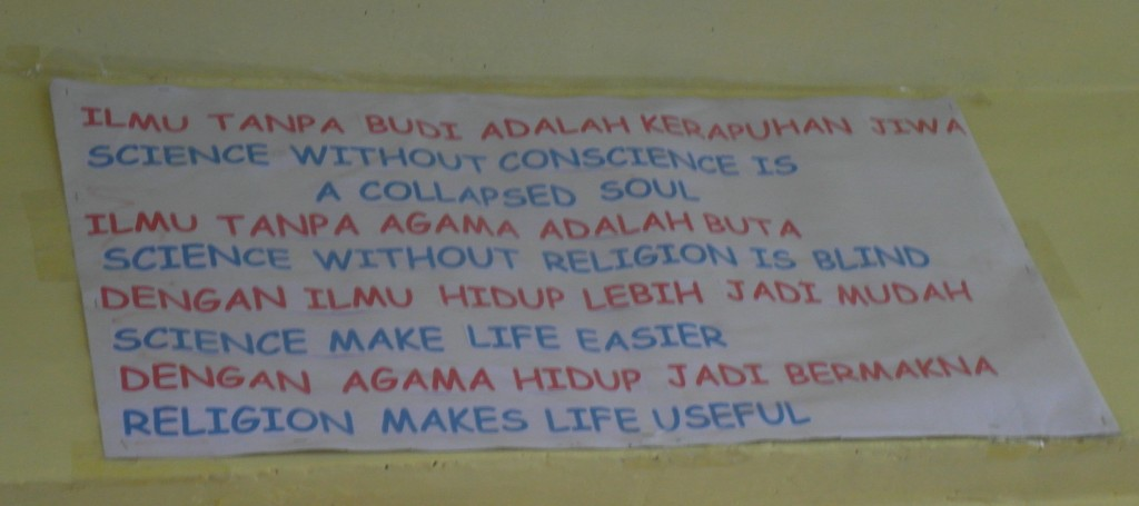 Spotted on a classroom wall in South Sulawesi