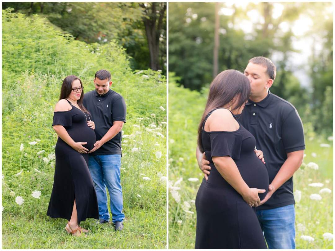Outdoor maternity photos with wildflowers