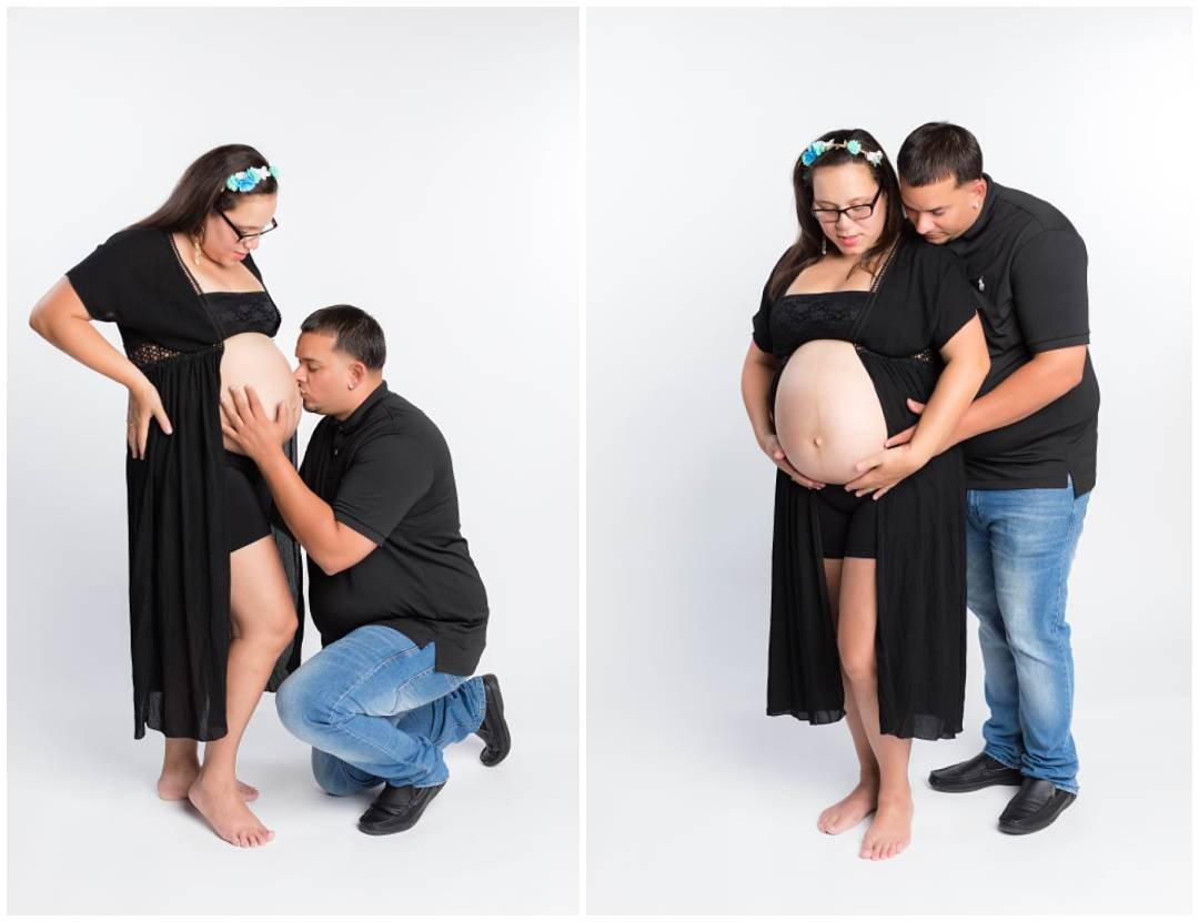 Maternity photos in studio on grey background