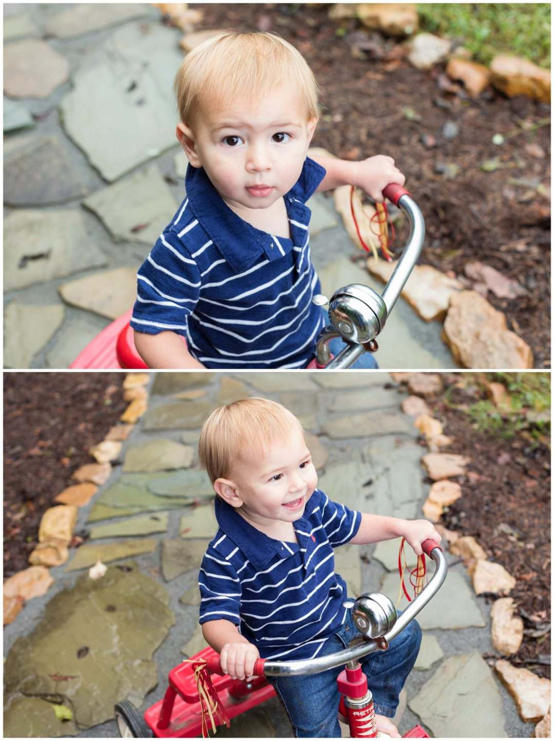 Outdoor kids portraits on stone pathway