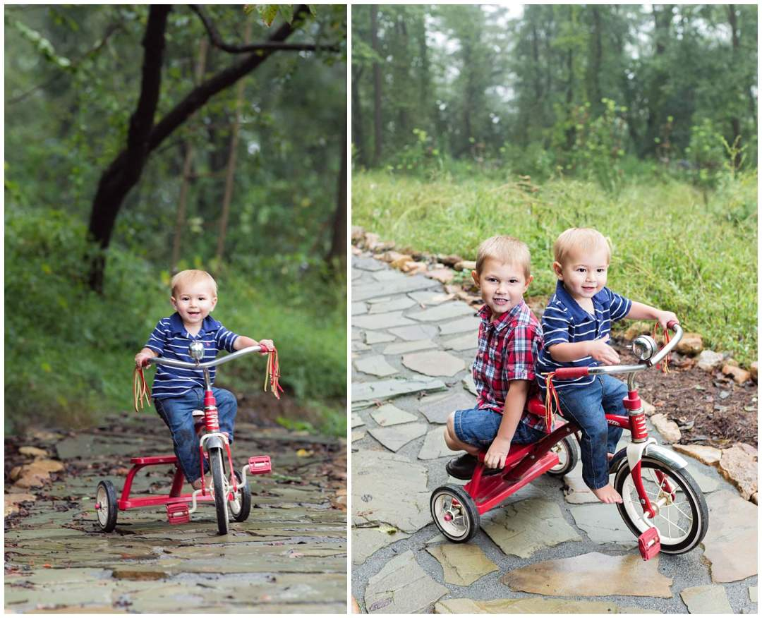Outdoor siblings portraits on stone pathway with bike
