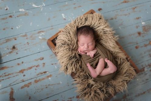 baby boy in fur nest