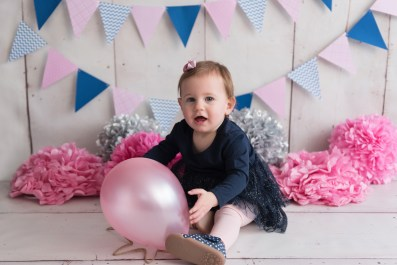 birthday girl pink and navy balloon
