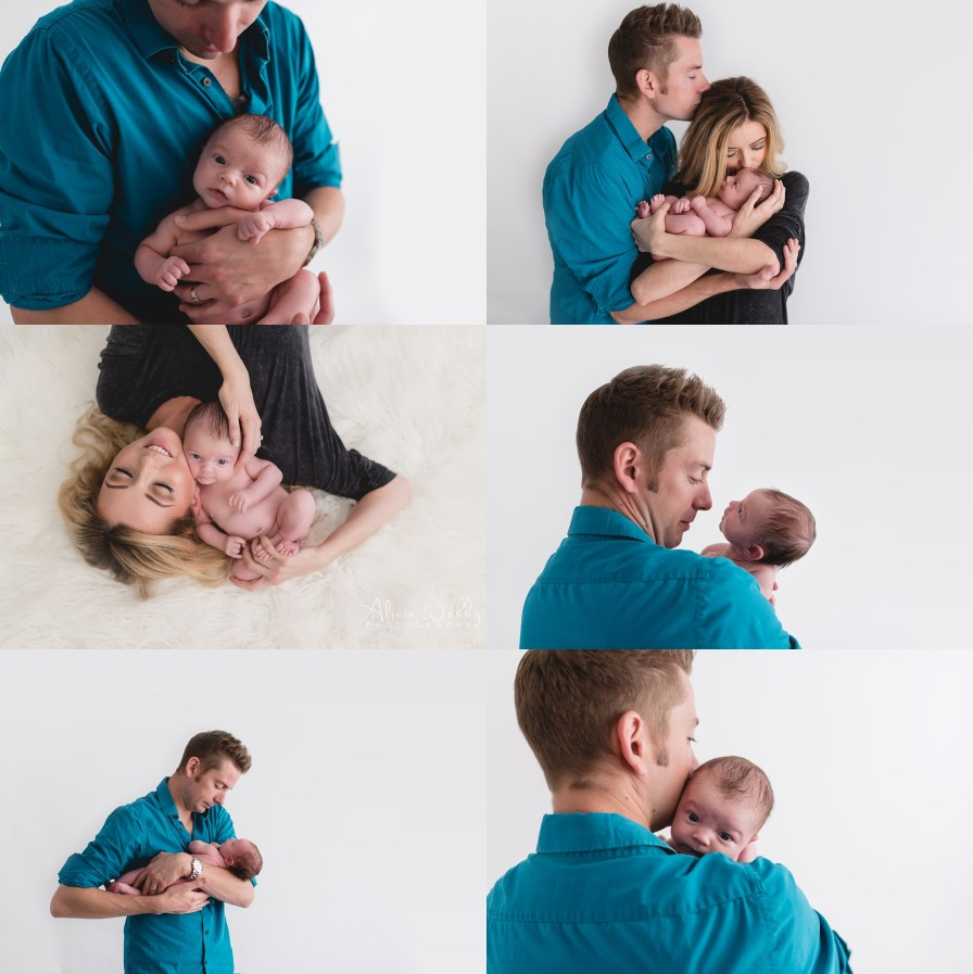 parent pictures with awake newborn
