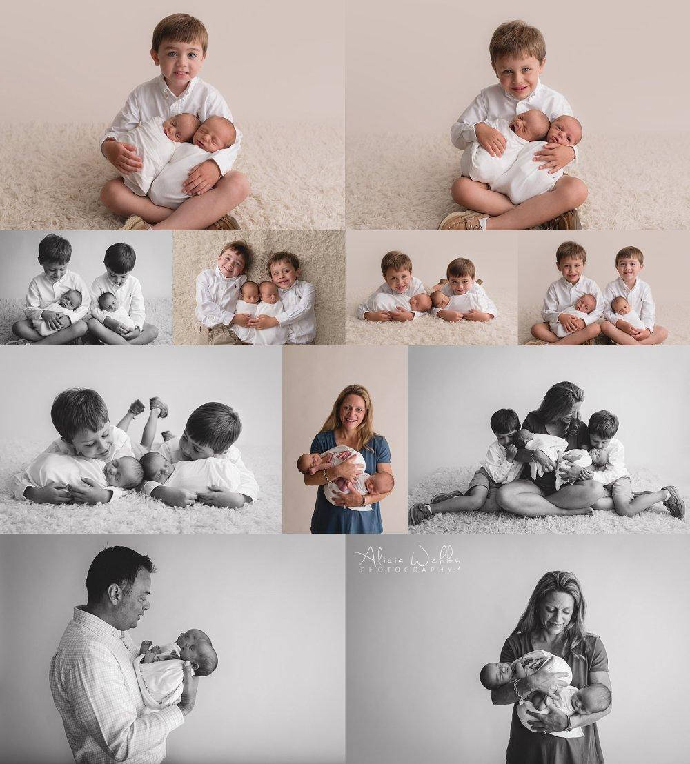 Twin boys holding twin boys