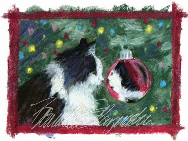 sophie looks into a red christmas ornament