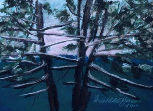"""""""Hemlocks, Snowy Morning"""", pastel on Coulourfix sanded pastel paper, 7.5"""" x 10.5"""" © Bernadette E. Kazmarski"""