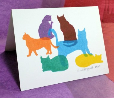 """Colorful Kitties"" note card."