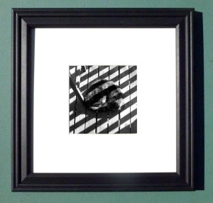 "Stripes on Stripe, 4"" X 4"", black frame"