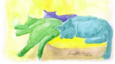 """Lazy Saturday Afternoon"", watercolor, 12"" x 9"", 2012 © Bernadette E. Kazmarski."