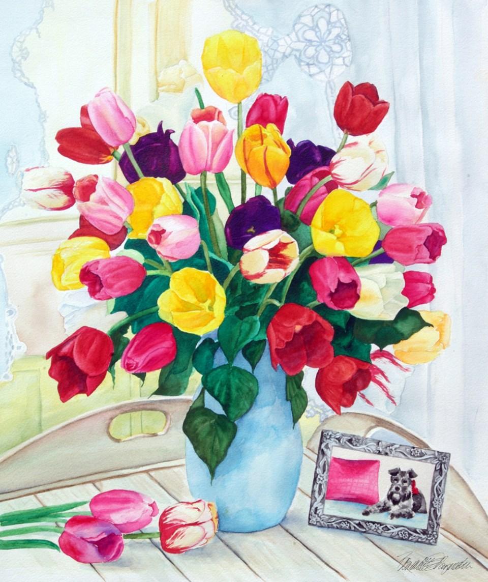 """Veronica's Tulips,"" watercolor, 16″ x 22″, 2008 © Bernadette E. Kazmarski"