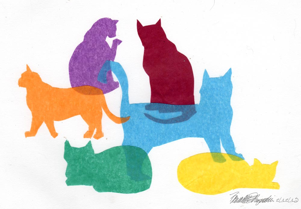 tissue paper collage; 021215-ColorfulKitties