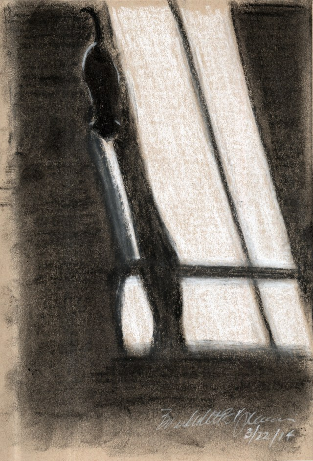 """""""Long Morning Shadows"""", white and black and soft, vine and compressed charcoal on toned paper, 5.5″ x 8.5″ © Bernadette E. Kazmarski"""