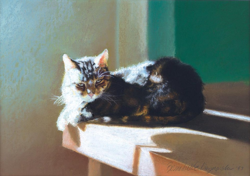 """After Dinner Nap"", pastel on Hahnemuhle sanded watercolor paper, 1997 © Bernadette E. Kazmarski"