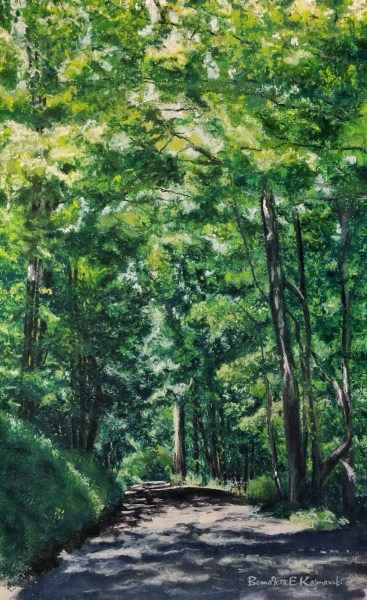 """A Bend in the Road"", pastel, 14"" x 22"", 2014 © Bernadette E. Kazmarski"