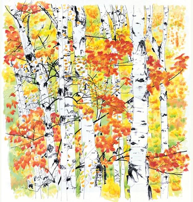 Birches 2: Radiance, watercolor, 22 x 23, 1998 © Bernadette E. Kazmarski