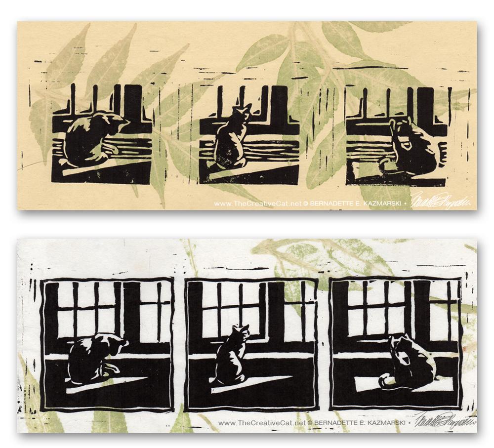 Kelly's Morning Bath Linoleum Block Prints