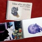 """""""Feline Style Sampler"""" cover and inside spread."""