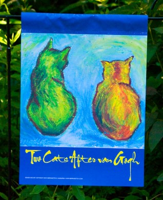 Front Garden Flag, Cats After Van Gogh