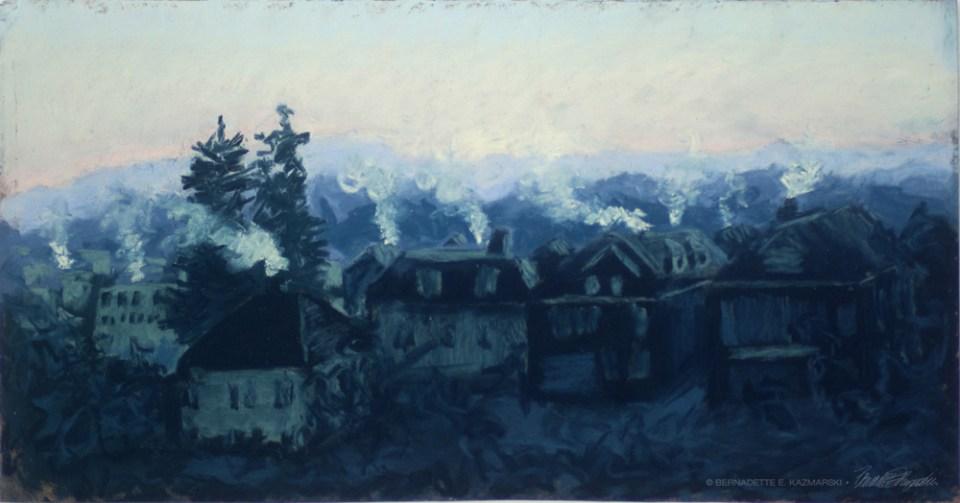 Frosty Morning, Just Before Dawn, pastel, 17.5 x 9, 2012 © Bernadette E. Kazmarski