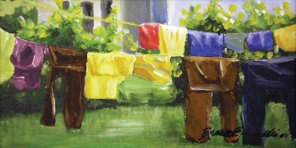 """My Neighbor's Laundry"", acrylic on board, 6 x 12, 2005 © Bernadette E. Kazmarski"