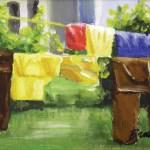 """My Neighbor's Laundry"", acrylic on board, 6 x 12, 2005 © Bernadette E. Kazmarski"