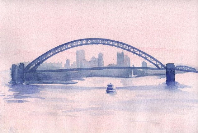 Misty River Morning, watercolor, 8 x 11, 2006 © Bernadette E. Kazmarski