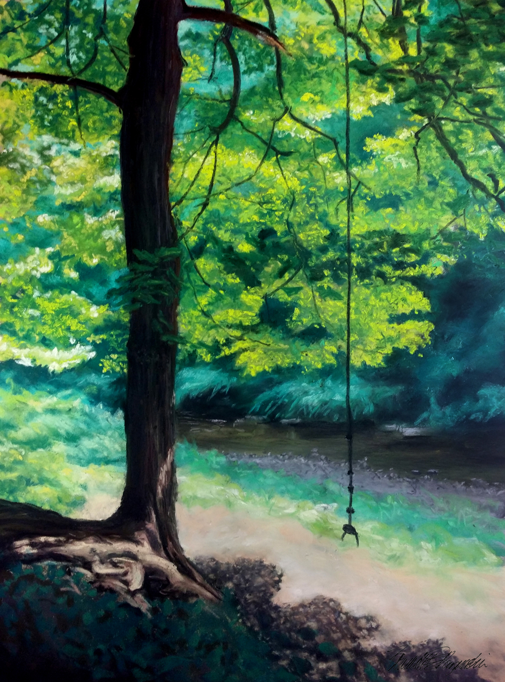 "The Rope Swing, pastel, 14"" x 20"", 2014 © Bernadette E. Kazmarski"