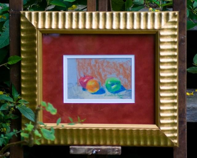 """""""Fruit"""", original framed pastel, 5.5"""" x 3.5"""", 2000 © Bernadette E. Kazmarski"""