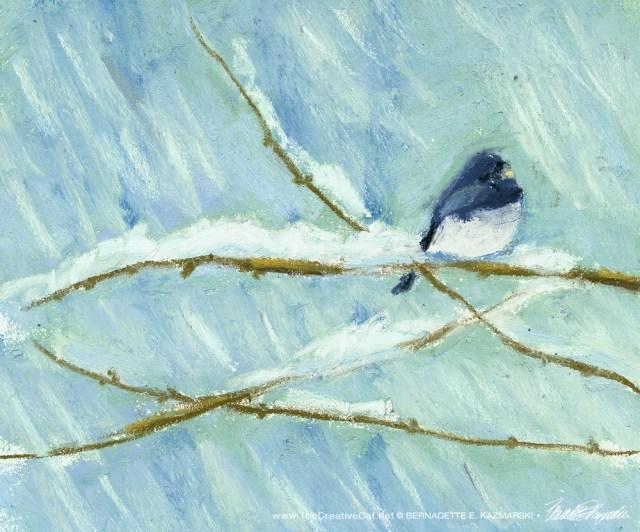 """Snowbird, pastel, 6"""" x 6"""" © Bernadette E. Kazmarski"""