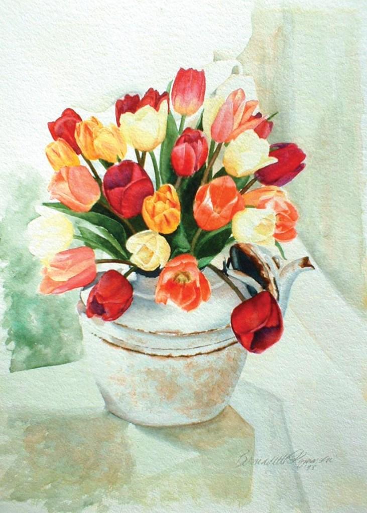Tea for Tulips, watercolor, 12 x 16 © Bernadette E. Kazmarski