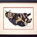 A. Framed, double matted, tinted print (as shown), 16 x 20