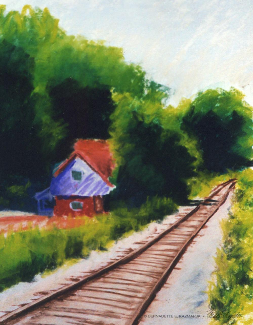 House By Tracks, 9 x 12, pastel © Bernadette E. Kazmarski