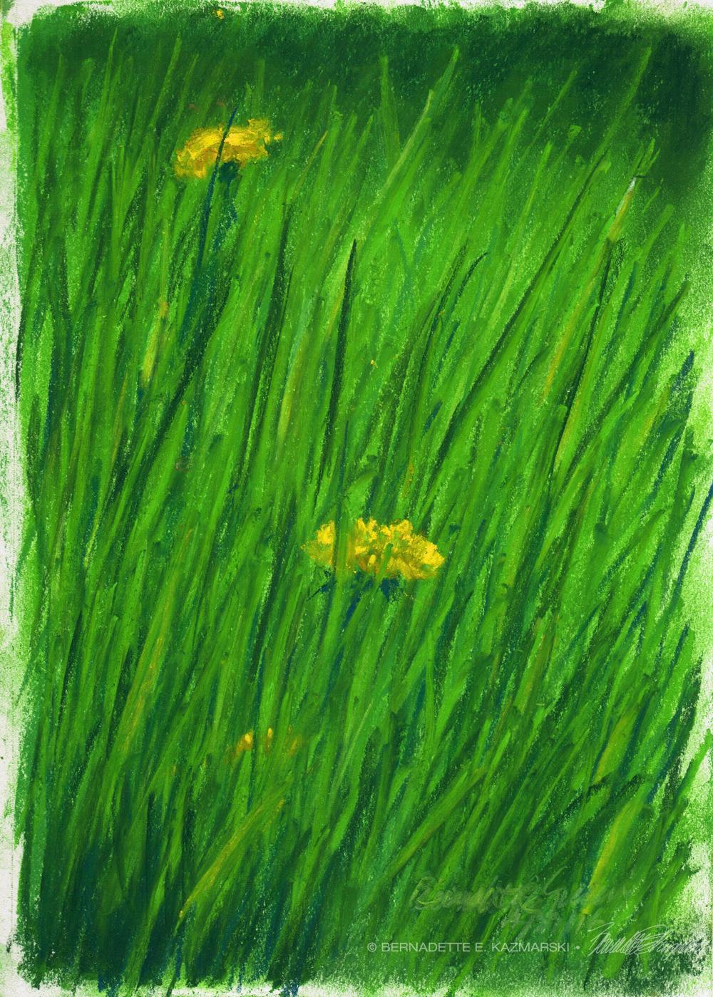 """Spring Grass"", pastel on multi-media paper, 7″ x 10″ © Bernadette E. Kazmarski"