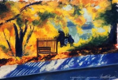 The Bench, pastel, 6 x 8, 2004 © Bernadette E. Kazmarski
