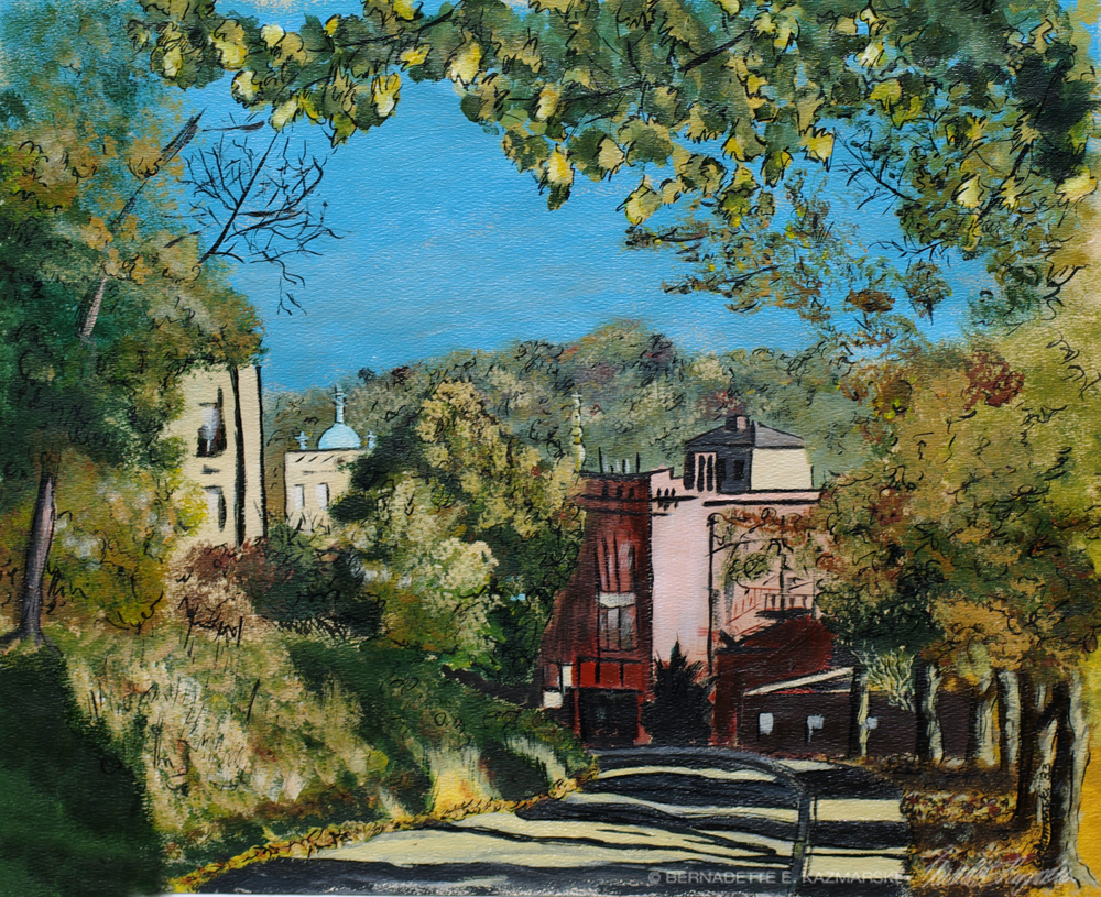 View From Beechwood, 14 x 18, ink and acrylic, 1983 © Bernadette E. Kazmarski