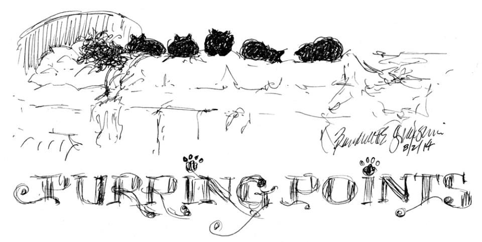"""Purring Points"", ink drawing pen, 6.5"" x 3.5"" © Bernadette E. Kazmarski"