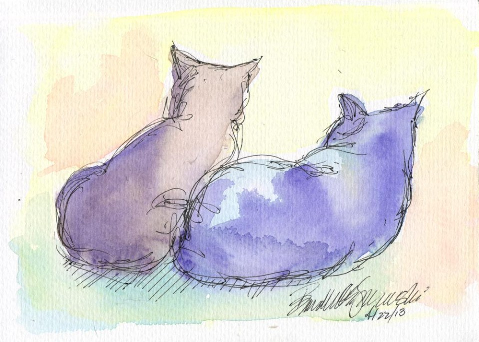 """""""Their Faces in the Sun"""", watercolor and ink, 5"""" x 7"""" © Bernadette E. Kazmarski"""