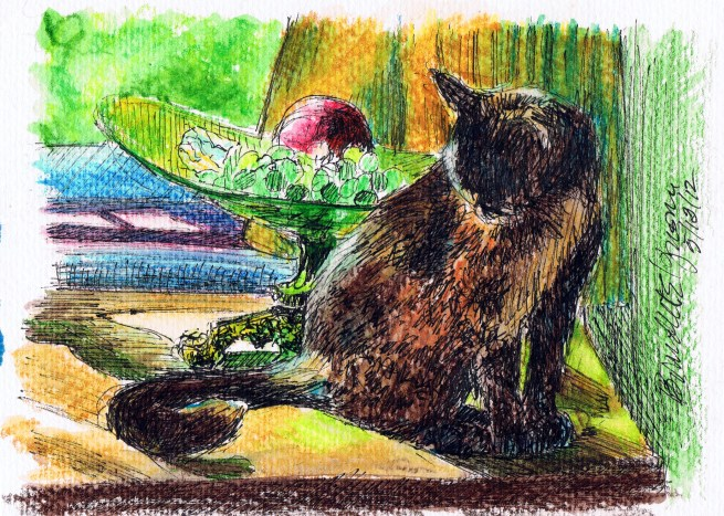 Kelly With Grapes and Apples, ink marker and watercolor pencil © B.E. Kazmarski