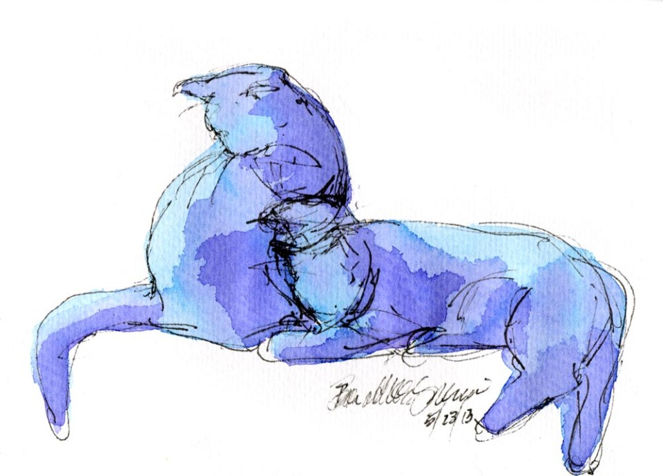 """Blue Purple Cats"", ink and watercolor, 5"" x 7"" © Bernadette E. Kazmarski"