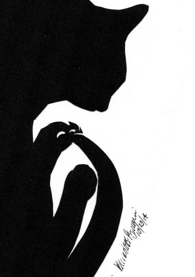 """Curving Silhouette"", cut paper, 5"" x 6"" © Bernadette E. Kazmarski"