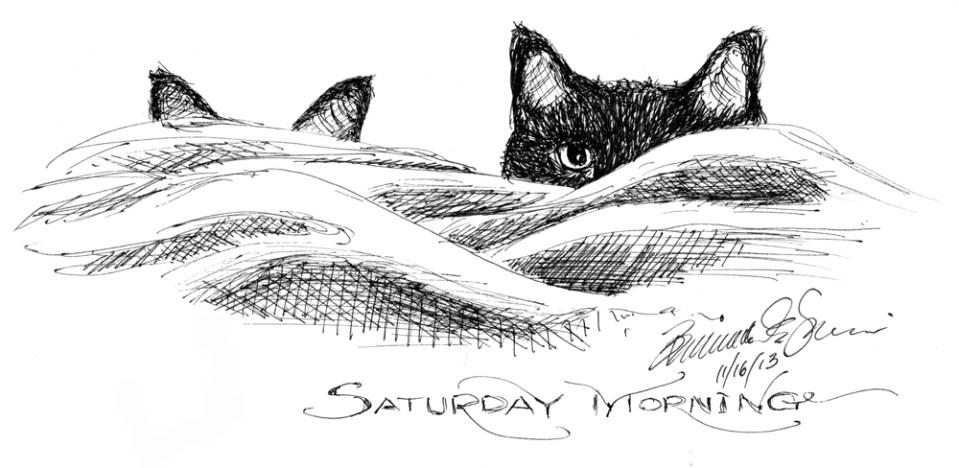 """""""Saturday Morning"""", Ink hybrid technical pen, 9"""" x 4"""" © Bernadette E. Kazmarski"""